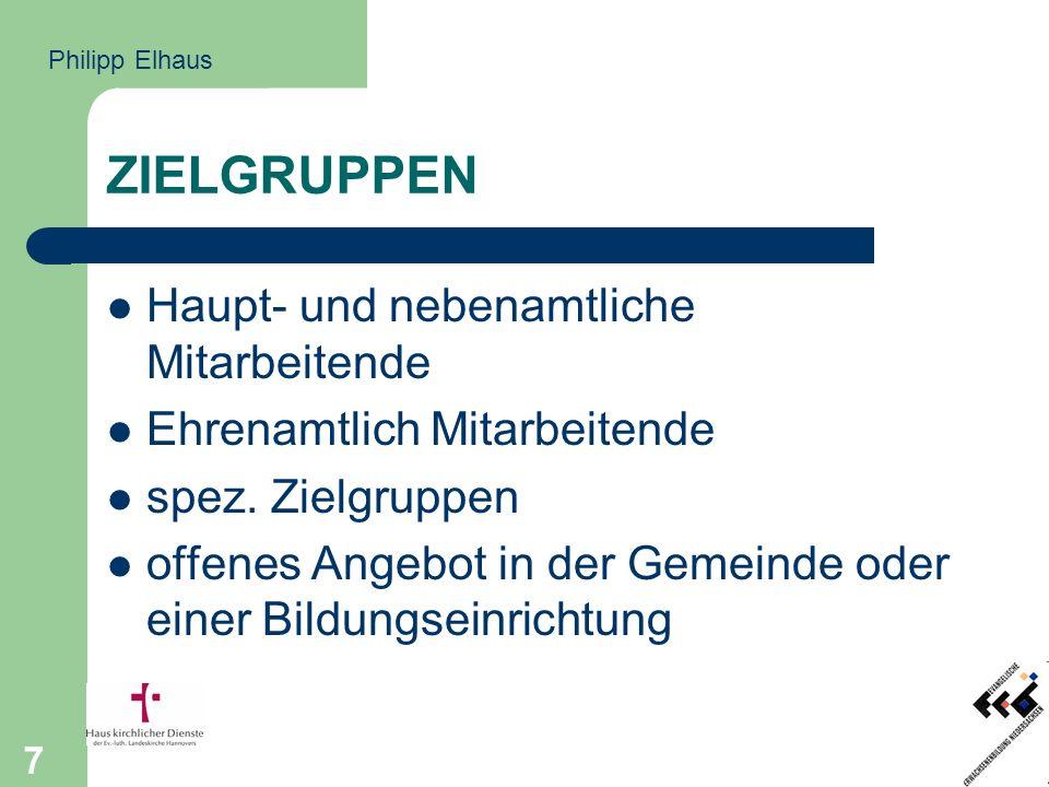 7 ZIELGRUPPEN Haupt- und nebenamtliche Mitarbeitende Ehrenamtlich Mitarbeitende spez.