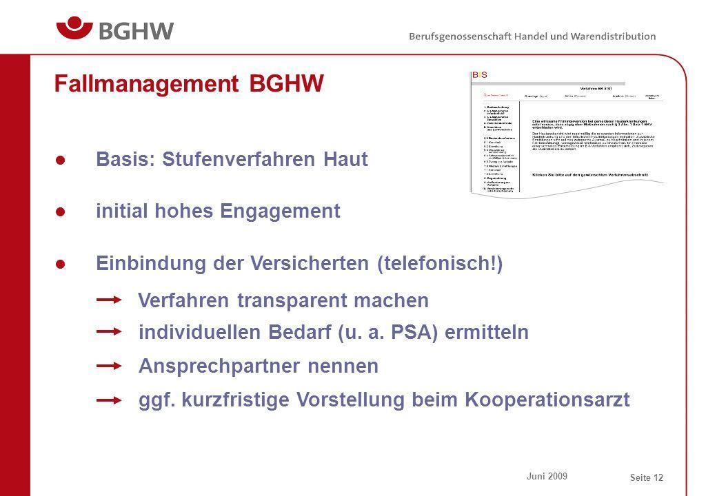 Juni 2009 Seite 12 Fallmanagement BGHW Basis: Stufenverfahren Haut initial hohes Engagement individuellen Bedarf (u. a. PSA) ermitteln Einbindung der