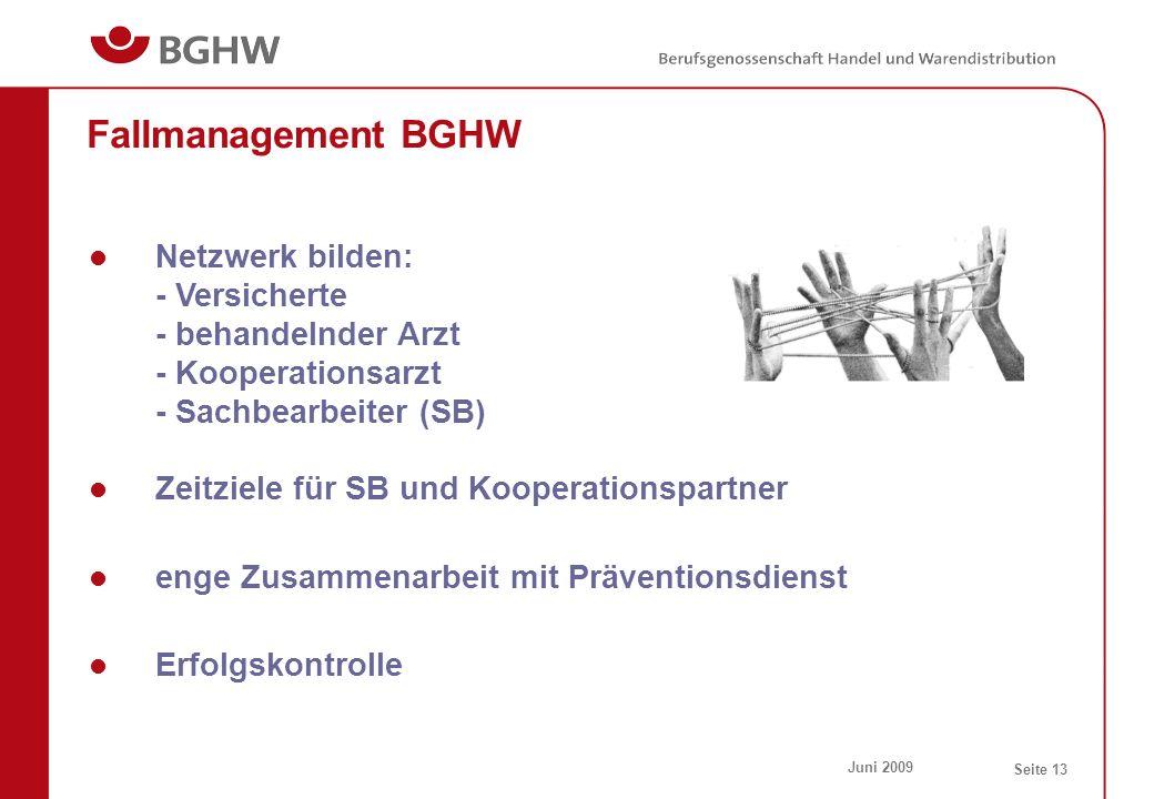 Juni 2009 Seite 13 Fallmanagement BGHW Netzwerk bilden: - Versicherte - behandelnder Arzt - Kooperationsarzt - Sachbearbeiter (SB) Zeitziele für SB un