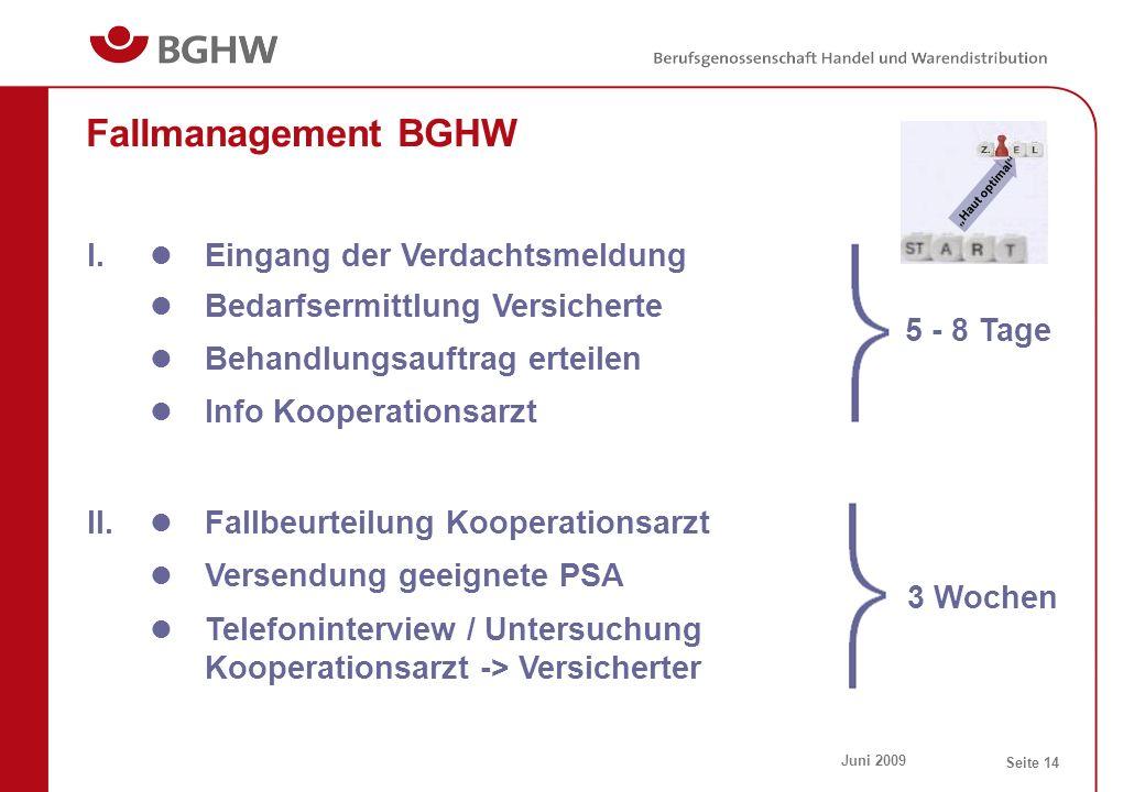 Juni 2009 Seite 14 Fallmanagement BGHW Eingang der Verdachtsmeldung I. Bedarfsermittlung Versicherte Behandlungsauftrag erteilen Info Kooperationsarzt