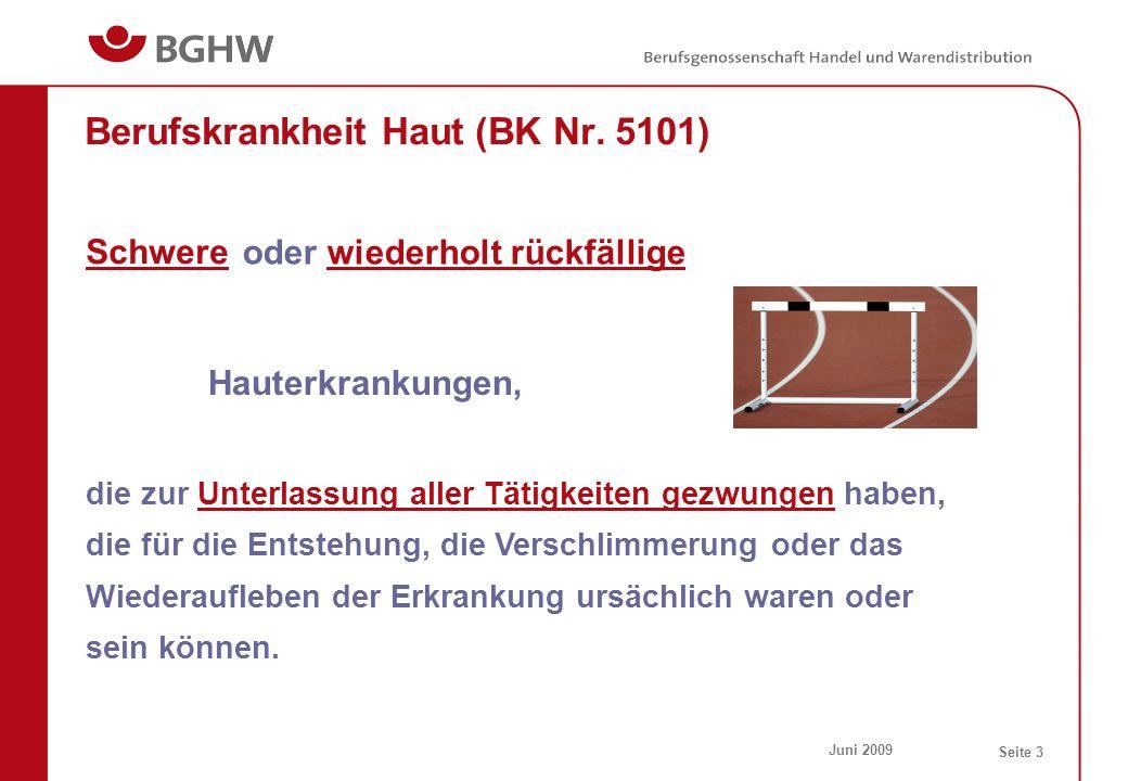 Juni 2009 Seite 3 Berufskrankheit Haut (BK Nr. 5101) die zur Unterlassung aller Tätigkeiten gezwungen haben, die für die Entstehung, die Verschlimmeru