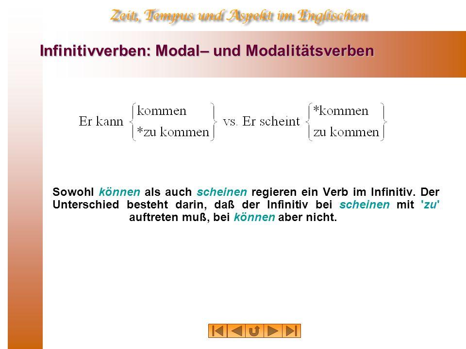 Infinitivverben: Modal– und Modalitätsverben Sowohl können als auch scheinen regieren ein Verb im Infinitiv. Der Unterschied besteht darin, daß der In