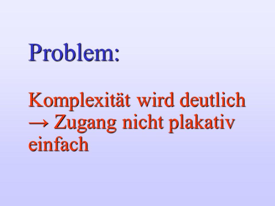 Problem: Komplexität wird deutlich Zugang nicht plakativ einfach