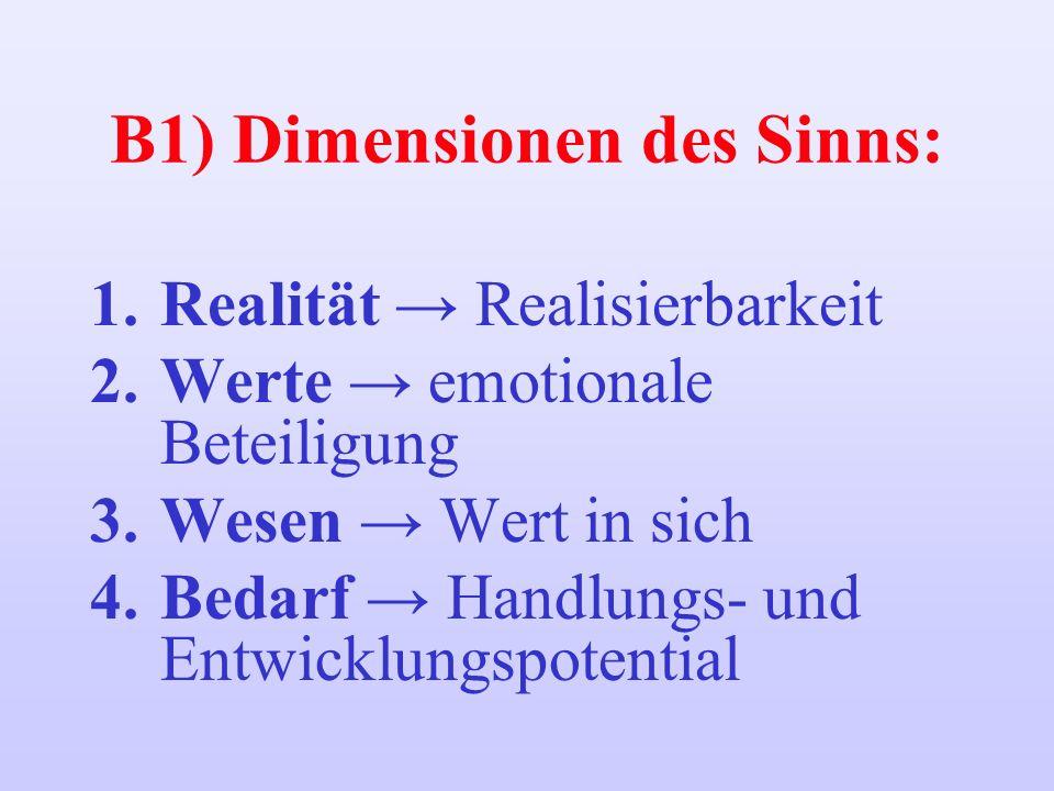 B1) Dimensionen des Sinns: 1.Realität Realisierbarkeit 2.Werte emotionale Beteiligung 3.Wesen Wert in sich 4.Bedarf Handlungs- und Entwicklungspotenti