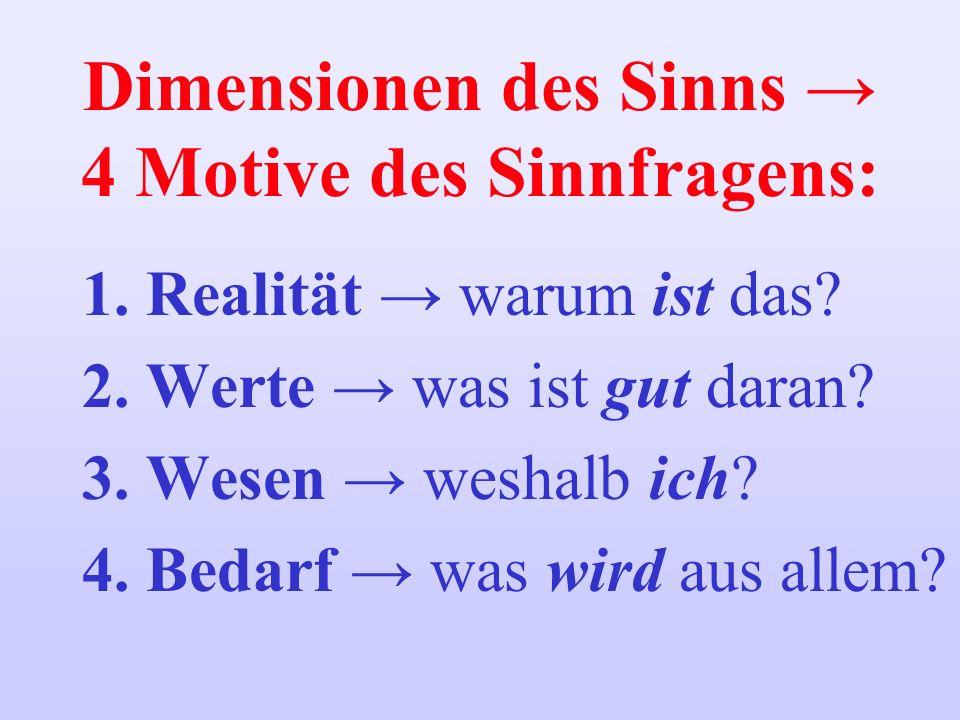Dimensionen des Sinns 4 Motive des Sinnfragens: 1.Realität warum ist das? 2.Werte was ist gut daran? 3.Wesen weshalb ich? 4.Bedarf was wird aus allem?