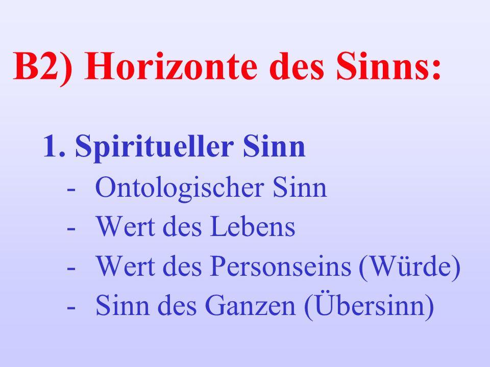 B2) Horizonte des Sinns: 1.Spiritueller Sinn -Ontologischer Sinn -Wert des Lebens -Wert des Personseins (Würde) -Sinn des Ganzen (Übersinn)