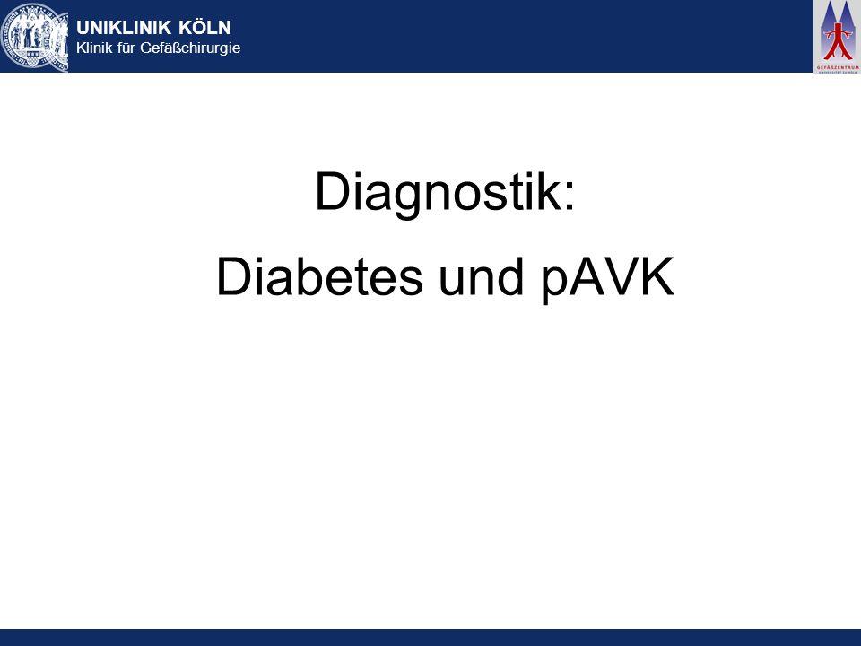 UNIKLINIK KÖLN Klinik für Gefäßchirurgie Diagnostik: Diabetes und pAVK