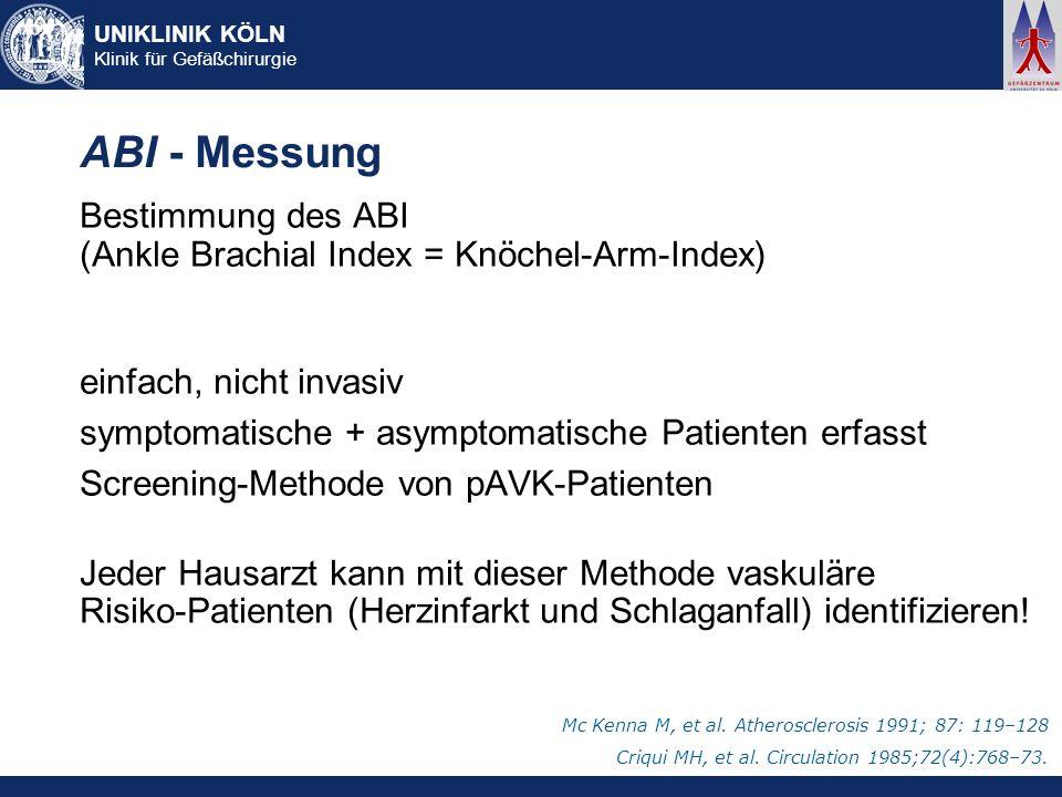 UNIKLINIK KÖLN Klinik für Gefäßchirurgie ABI - Messung Bestimmung des ABI (Ankle Brachial Index = Knöchel-Arm-Index) einfach, nicht invasiv symptomati