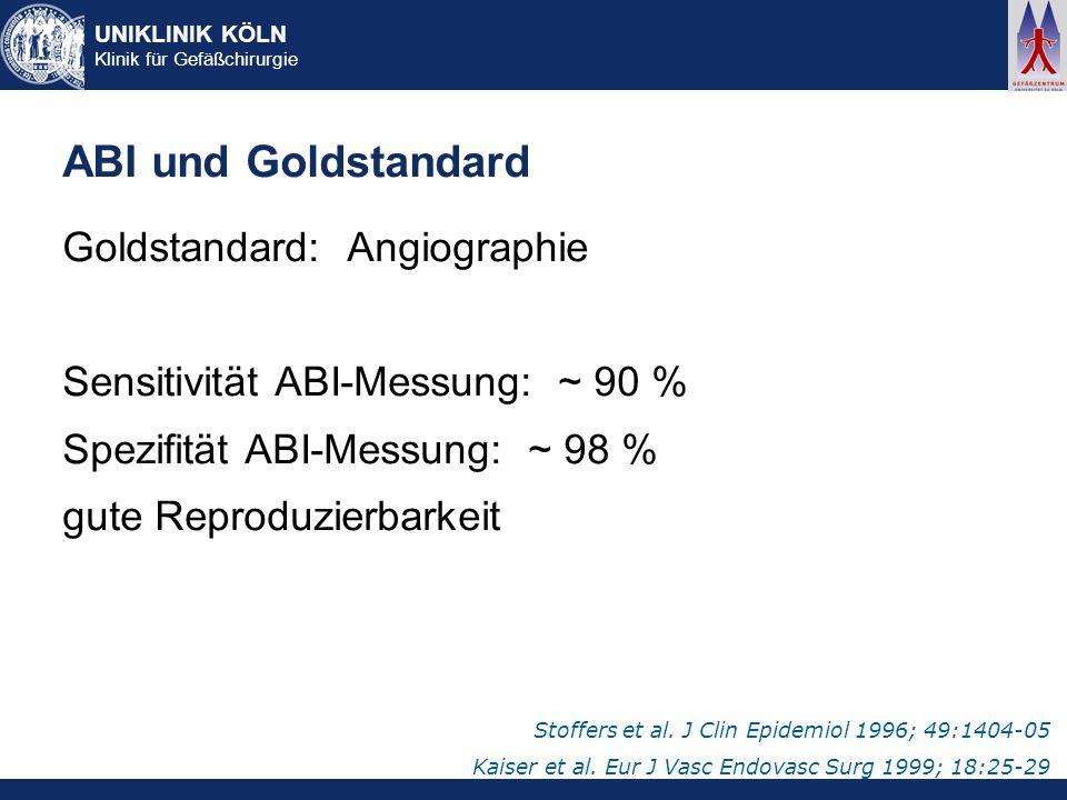 UNIKLINIK KÖLN Klinik für Gefäßchirurgie ABI und Goldstandard Goldstandard: Angiographie Sensitivität ABI-Messung: ~ 90 % Spezifität ABI-Messung: ~ 98