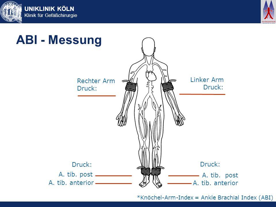UNIKLINIK KÖLN Klinik für Gefäßchirurgie ABI - Messung Rechter Arm Druck: Linker Arm Druck: A. tib. post A. tib. anterior Druck: A. tib. post A. tib.