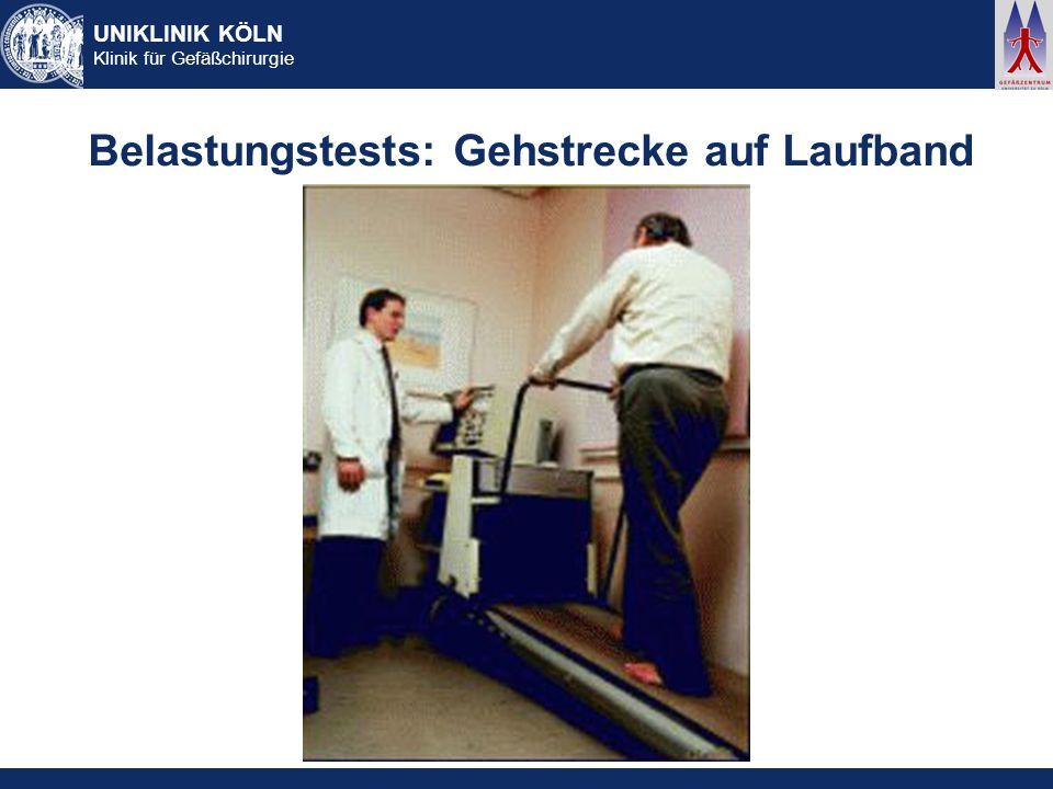 UNIKLINIK KÖLN Klinik für Gefäßchirurgie Belastungstests: Gehstrecke auf Laufband