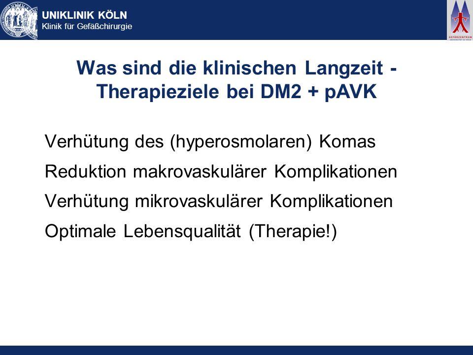 UNIKLINIK KÖLN Klinik für Gefäßchirurgie Was sind die klinischen Langzeit - Therapieziele bei DM2 + pAVK Verhütung des (hyperosmolaren) Komas Reduktio
