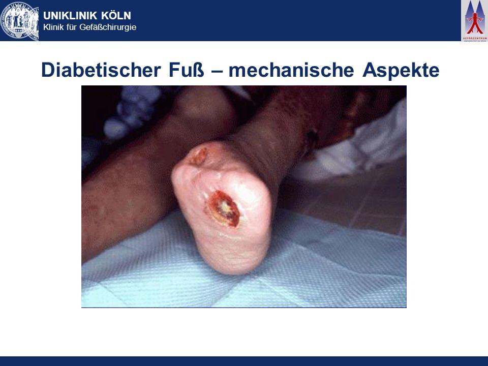 UNIKLINIK KÖLN Klinik für Gefäßchirurgie Diabetischer Fuß – mechanische Aspekte