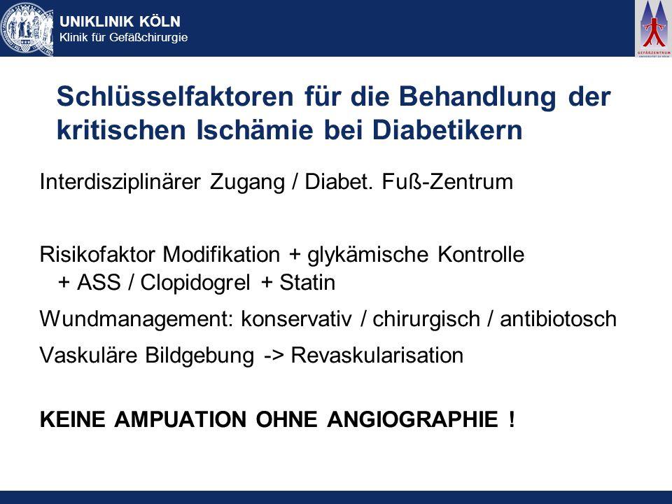 UNIKLINIK KÖLN Klinik für Gefäßchirurgie Schlüsselfaktoren für die Behandlung der kritischen Ischämie bei Diabetikern Interdisziplinärer Zugang / Diab