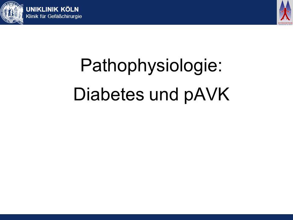 UNIKLINIK KÖLN Klinik für Gefäßchirurgie Pathophysiologie: Diabetes und pAVK