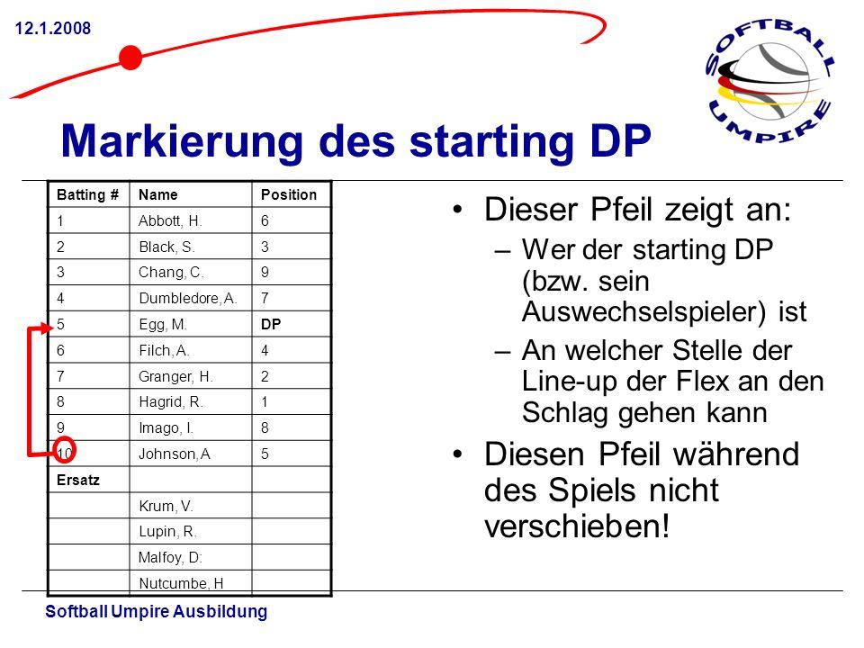 Softball Umpire Ausbildung 12.1.2008 Markierung des starting DP Dieser Pfeil zeigt an: –Wer der starting DP (bzw. sein Auswechselspieler) ist –An welc