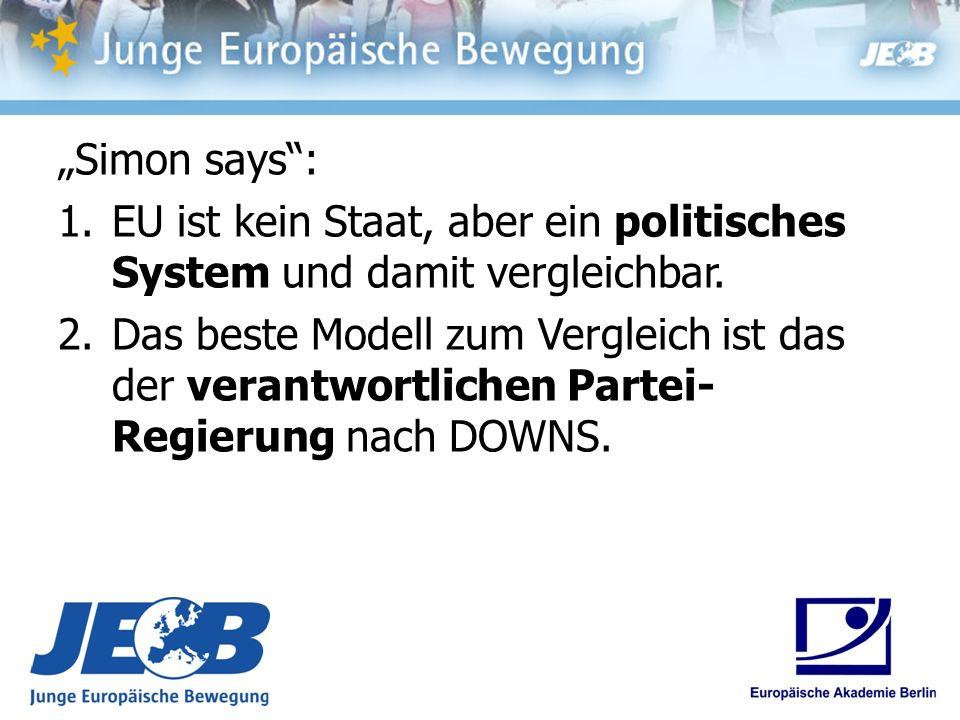 Simon says: 1.EU ist kein Staat, aber ein politisches System und damit vergleichbar. 2.Das beste Modell zum Vergleich ist das der verantwortlichen Par