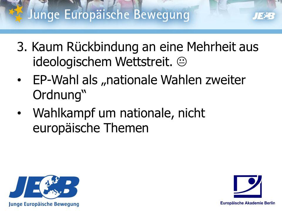 3. Kaum Rückbindung an eine Mehrheit aus ideologischem Wettstreit. EP-Wahl als nationale Wahlen zweiter Ordnung Wahlkampf um nationale, nicht europäis