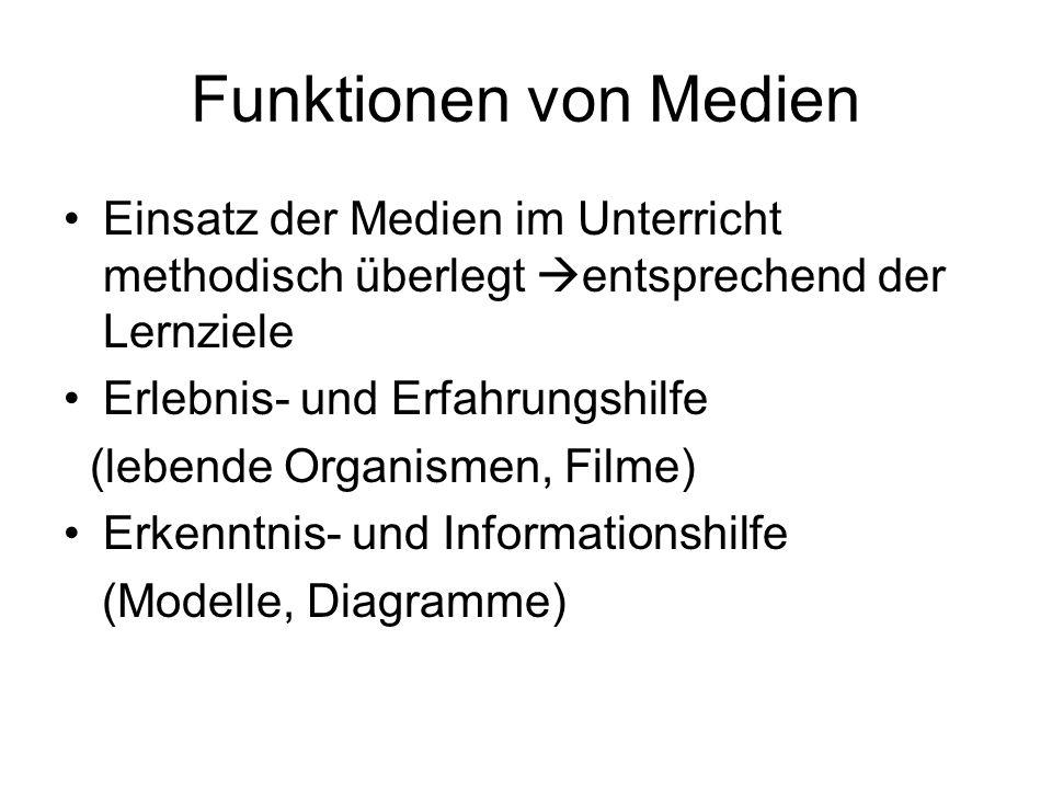 Funktionen von Medien Einsatz der Medien im Unterricht methodisch überlegt entsprechend der Lernziele Erlebnis- und Erfahrungshilfe (lebende Organisme