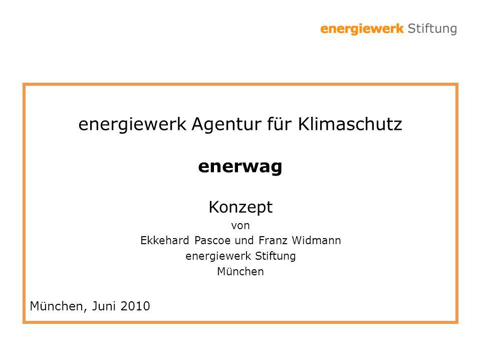 energiewerk Agentur für Klimaschutz enerwag Konzept von Ekkehard Pascoe und Franz Widmann energiewerk Stiftung München München, Juni 2010
