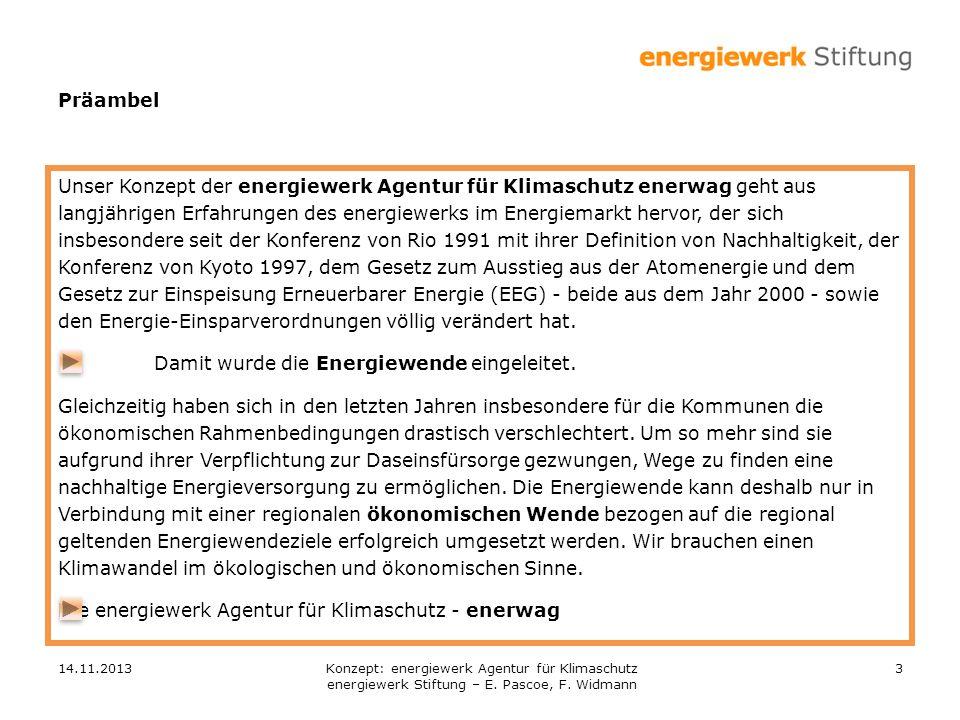 14.11.20133 Präambel Unser Konzept der energiewerk Agentur für Klimaschutz enerwag geht aus langjährigen Erfahrungen des energiewerks im Energiemarkt hervor, der sich insbesondere seit der Konferenz von Rio 1991 mit ihrer Definition von Nachhaltigkeit, der Konferenz von Kyoto 1997, dem Gesetz zum Ausstieg aus der Atomenergie und dem Gesetz zur Einspeisung Erneuerbarer Energie (EEG) - beide aus dem Jahr 2000 - sowie den Energie-Einsparverordnungen völlig verändert hat.