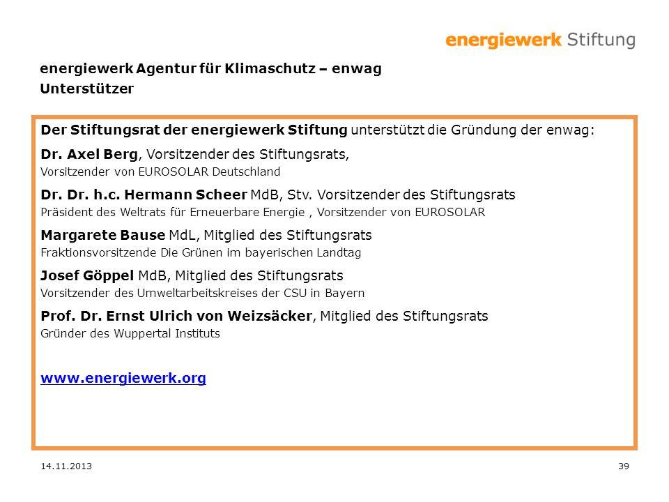 Der Stiftungsrat der energiewerk Stiftung unterstützt die Gründung der enwag: Dr. Axel Berg, Vorsitzender des Stiftungsrats, Vorsitzender von EUROSOLA