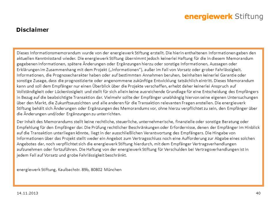 Dieses Informationsmemorandum wurde von der energiewerk Stiftung erstellt. Die hierin enthaltenen Informationen geben den aktuellen Kenntnisstand wied