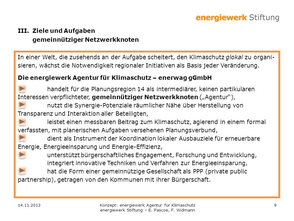 14.11.20139 In einer Welt, die zusehends an der Aufgabe scheitert, den Klimaschutz glokal zu organi- sieren, wächst die Notwendigkeit regionaler Initiativen als Basis jeder Veränderung.