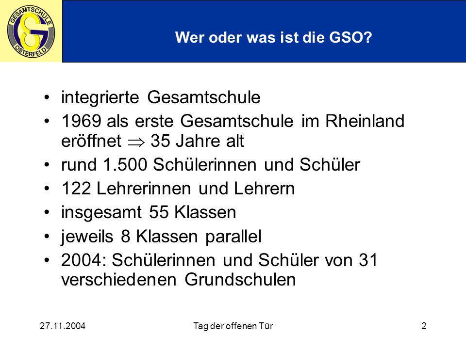 27.11.2004Tag der offenen Tür3 Unterricht an der GSO - Zeiten AG Mittagsfreizeit