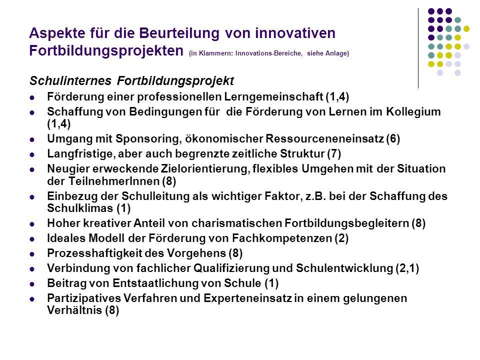 Aspekte für die Beurteilung von innovativen Fortbildungsprojekten (in Klammern: Innovations-Bereiche, siehe Anlage) Schulinternes Fortbildungsprojekt
