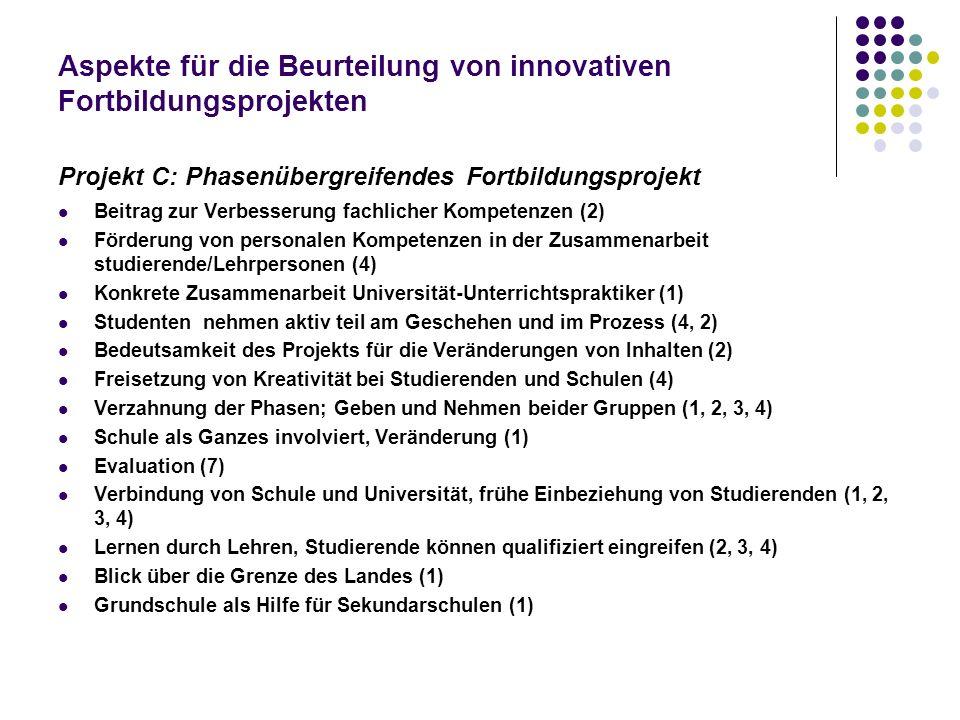 Aspekte für die Beurteilung von innovativen Fortbildungsprojekten Projekt C: Phasenübergreifendes Fortbildungsprojekt Beitrag zur Verbesserung fachlic