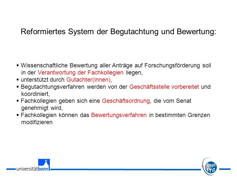 Reformiertes System der Begutachtung und Bewertung: Wissenschaftliche Bewertung aller Anträge auf Forschungsförderung soll in der Verantwortung der Fa
