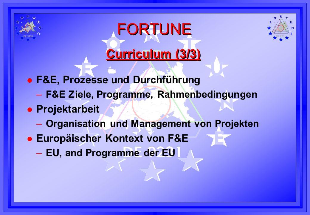 FORTUNE Curriculum (3/3) l F&E, Prozesse und Durchführung –F&E Ziele, Programme, Rahmenbedingungen l Projektarbeit –Organisation und Management von Pr