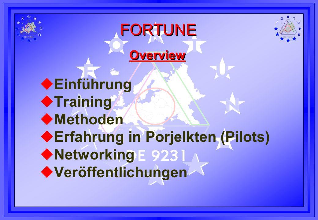 FORTUNE Overview uEinführung uTraining uMethoden uErfahrung in Porjelkten (Pilots) uNetworking uVeröffentlichungen