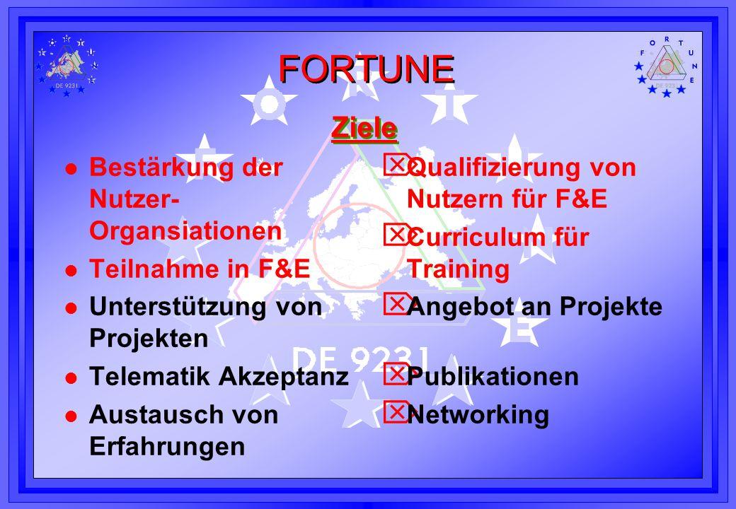 FORTUNE Ziele l Bestärkung der Nutzer- Organsiationen l Teilnahme in F&E l Unterstützung von Projekten l Telematik Akzeptanz l Austausch von Erfahrung