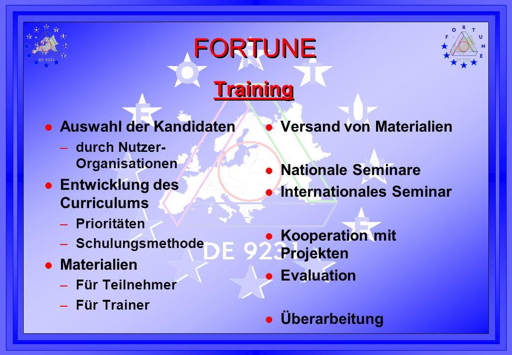 FORTUNE Training l Auswahl der Kandidaten –durch Nutzer- Organisationen l Entwicklung des Curriculums –Prioritäten –Schulungsmethode l Materialien –Fü