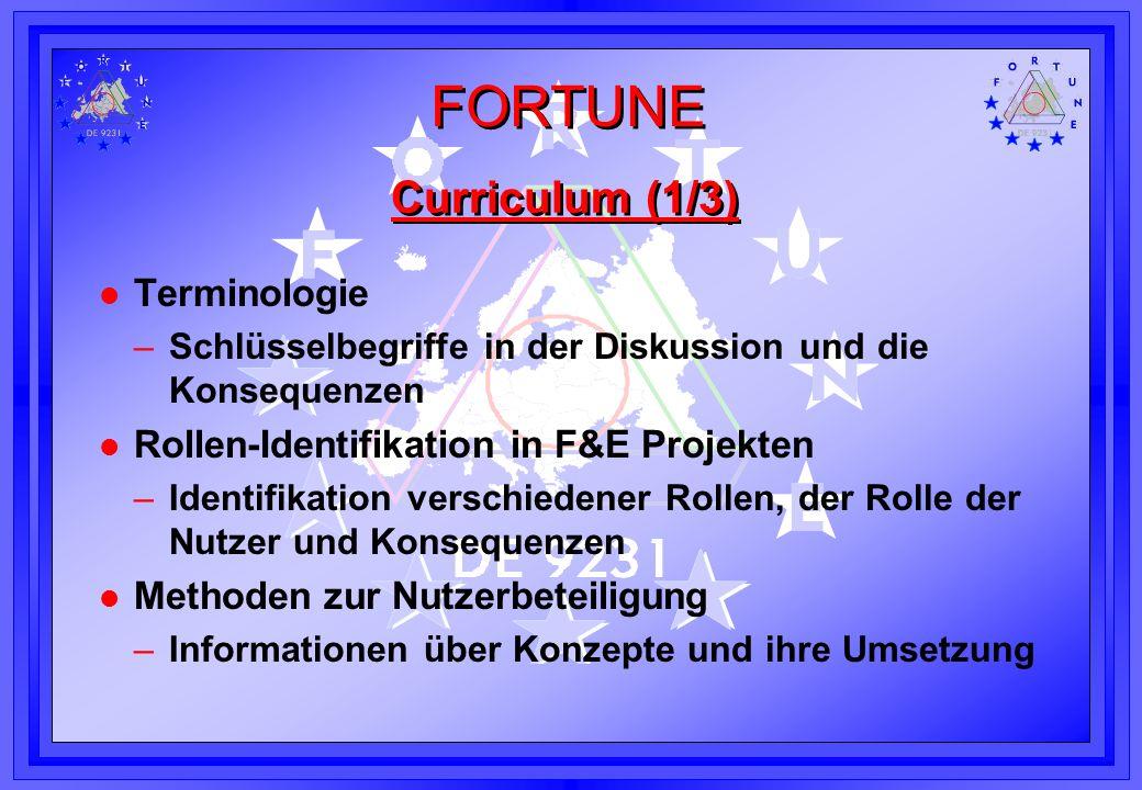 FORTUNE Curriculum (1/3) l Terminologie –Schlüsselbegriffe in der Diskussion und die Konsequenzen l Rollen-Identifikation in F&E Projekten –Identifika