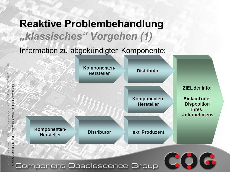 reaktives und proaktives Obsolescence-Management V01 / FH Trier 31.05.2007 / Seite 10© COG Deutschland / Schimmelpfennig / Kopie nur nach Genehmigung