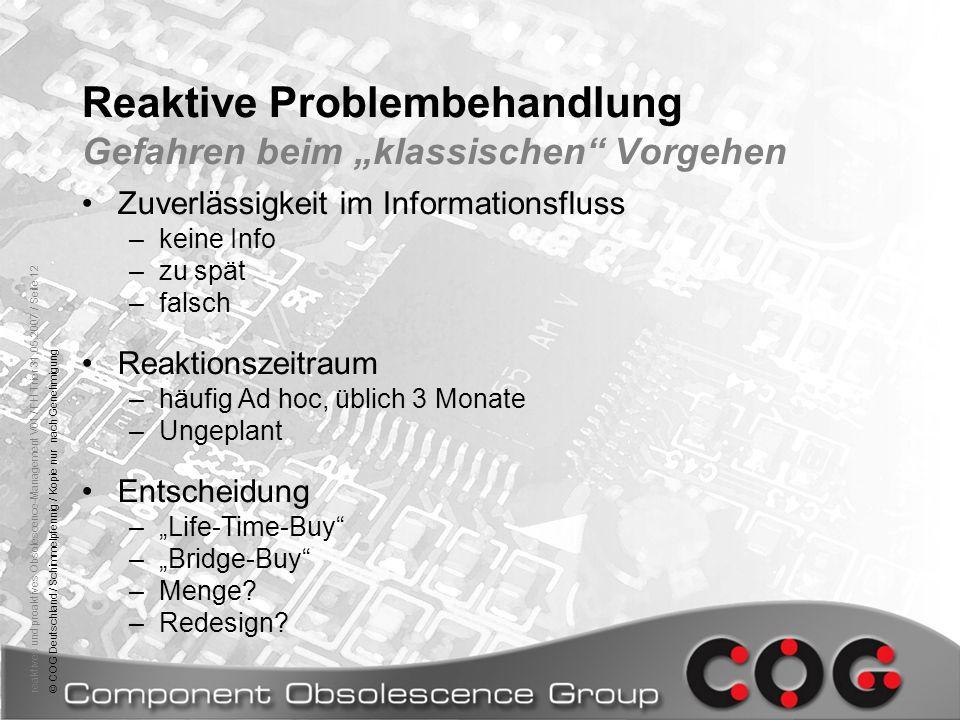 reaktives und proaktives Obsolescence-Management V01 / FH Trier 31.05.2007 / Seite 12© COG Deutschland / Schimmelpfennig / Kopie nur nach Genehmigung