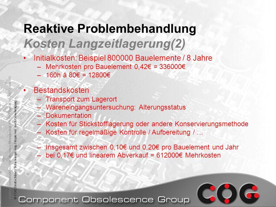reaktives und proaktives Obsolescence-Management V01 / FH Trier 31.05.2007 / Seite 15© COG Deutschland / Schimmelpfennig / Kopie nur nach Genehmigung