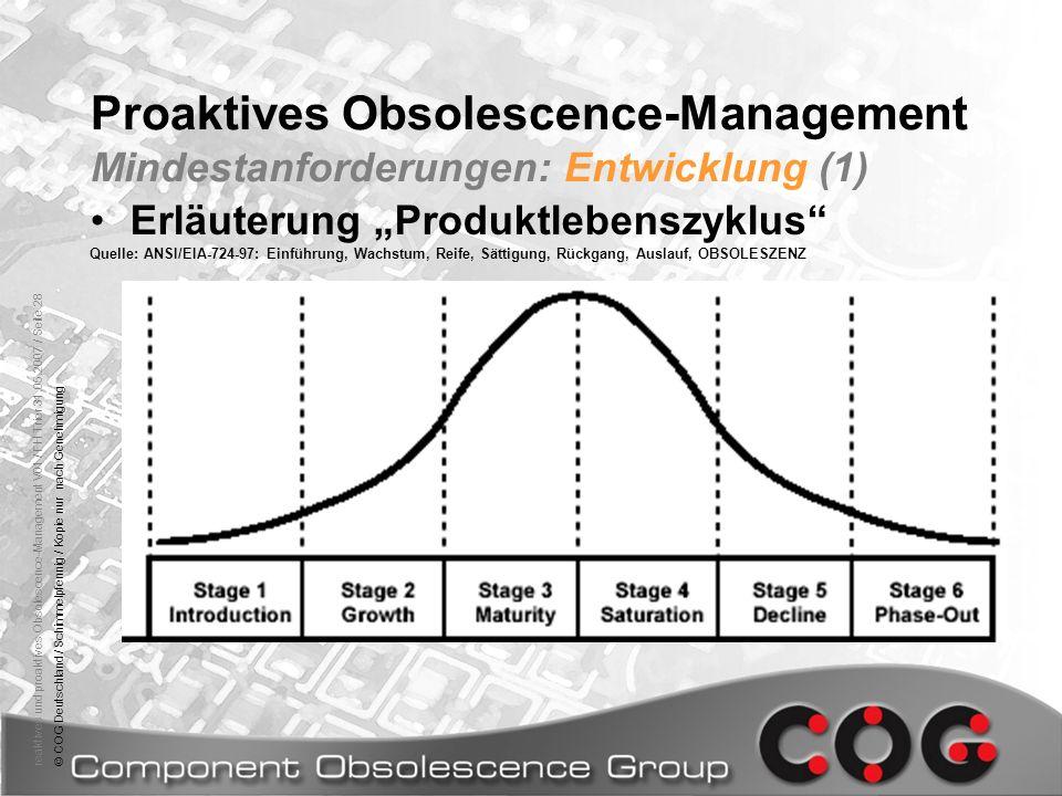reaktives und proaktives Obsolescence-Management V01 / FH Trier 31.05.2007 / Seite 28© COG Deutschland / Schimmelpfennig / Kopie nur nach Genehmigung
