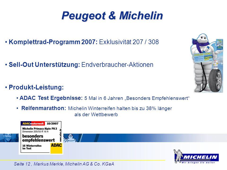 Seite 12, Markus Merkle, Michelin AG & Co. KGaA Komplettrad-Programm 2007: Exklusivität 207 / 308 Sell-Out Unterstützung: Endverbraucher-Aktionen Prod