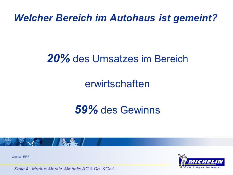 Seite 4, Markus Merkle, Michelin AG & Co. KGaA Quelle: BBE 20% des Umsatzes im Bereich erwirtschaften 59% des Gewinns Welcher Bereich im Autohaus ist