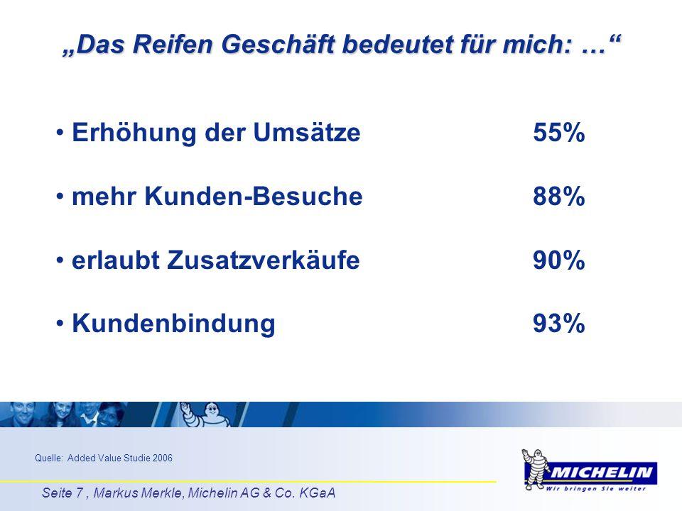 Seite 7, Markus Merkle, Michelin AG & Co. KGaA Das Reifen Geschäft bedeutet für mich: … Erhöhung der Umsätze55% mehr Kunden-Besuche88% erlaubt Zusatzv