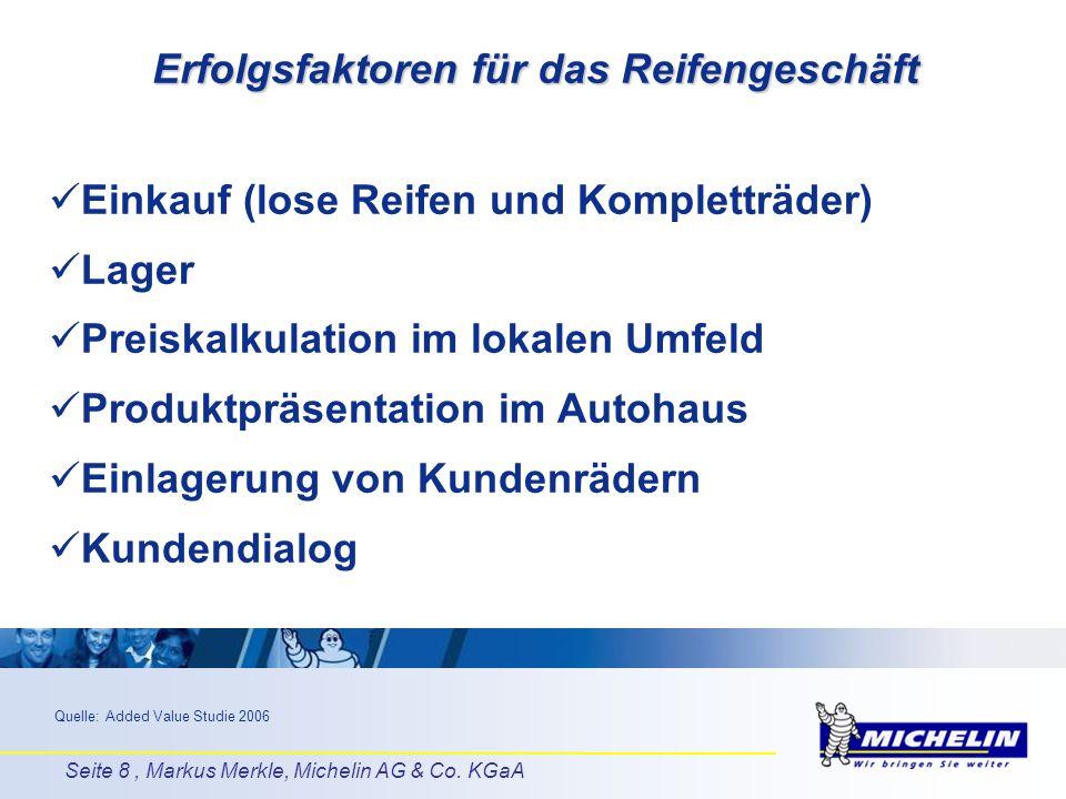 Seite 8, Markus Merkle, Michelin AG & Co. KGaA Erfolgsfaktoren für das Reifengeschäft Einkauf (lose Reifen und Kompletträder) Lager Preiskalkulation i