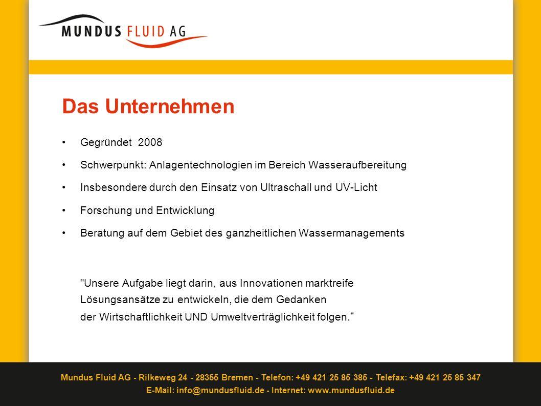 Mundus Fluid AG - Rilkeweg 24 - 28355 Bremen - Telefon: +49 421 25 85 385 - Telefax: +49 421 25 85 347 E-Mail: info@mundusfluid.de - Internet: www.mundusfluid.de Was ist Ballastwasser Notwendig zur Stabilisierung von Schiffen Aufnahme in Tanks oder Rumpfhüllen Ein- und Auspumpen erfolgt auf offener See Schiffe führen ca.