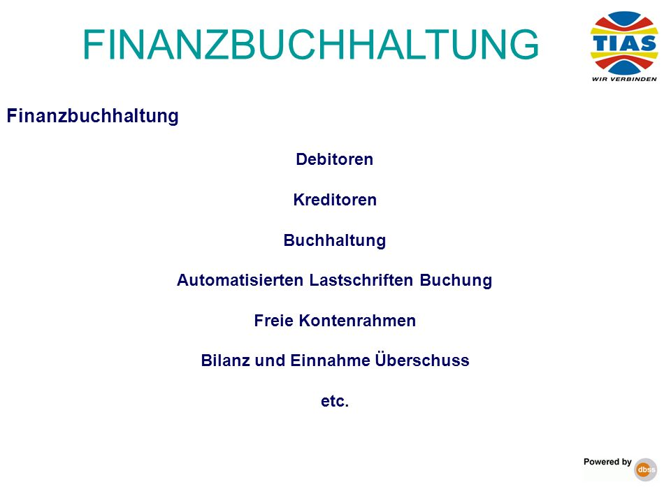 Finanzbuchhaltung Debitoren Kreditoren Buchhaltung Automatisierten Lastschriften Buchung Freie Kontenrahmen Bilanz und Einnahme Überschuss etc. FINANZ