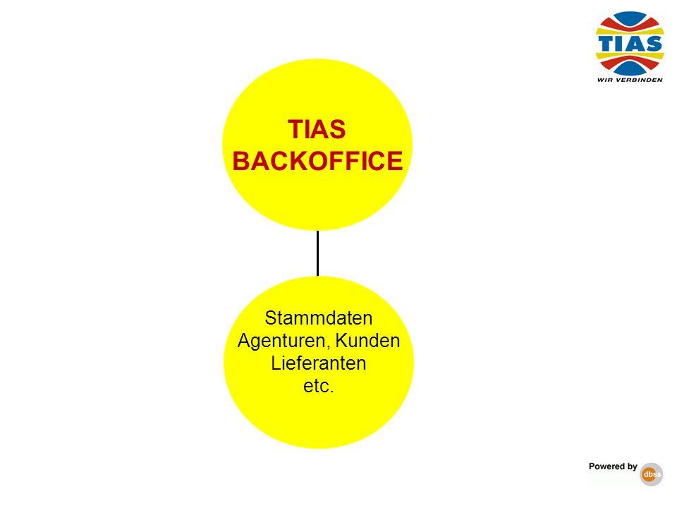 TIAS BACKOFFICE Stammdaten Agenturen, Kunden Lieferanten etc.