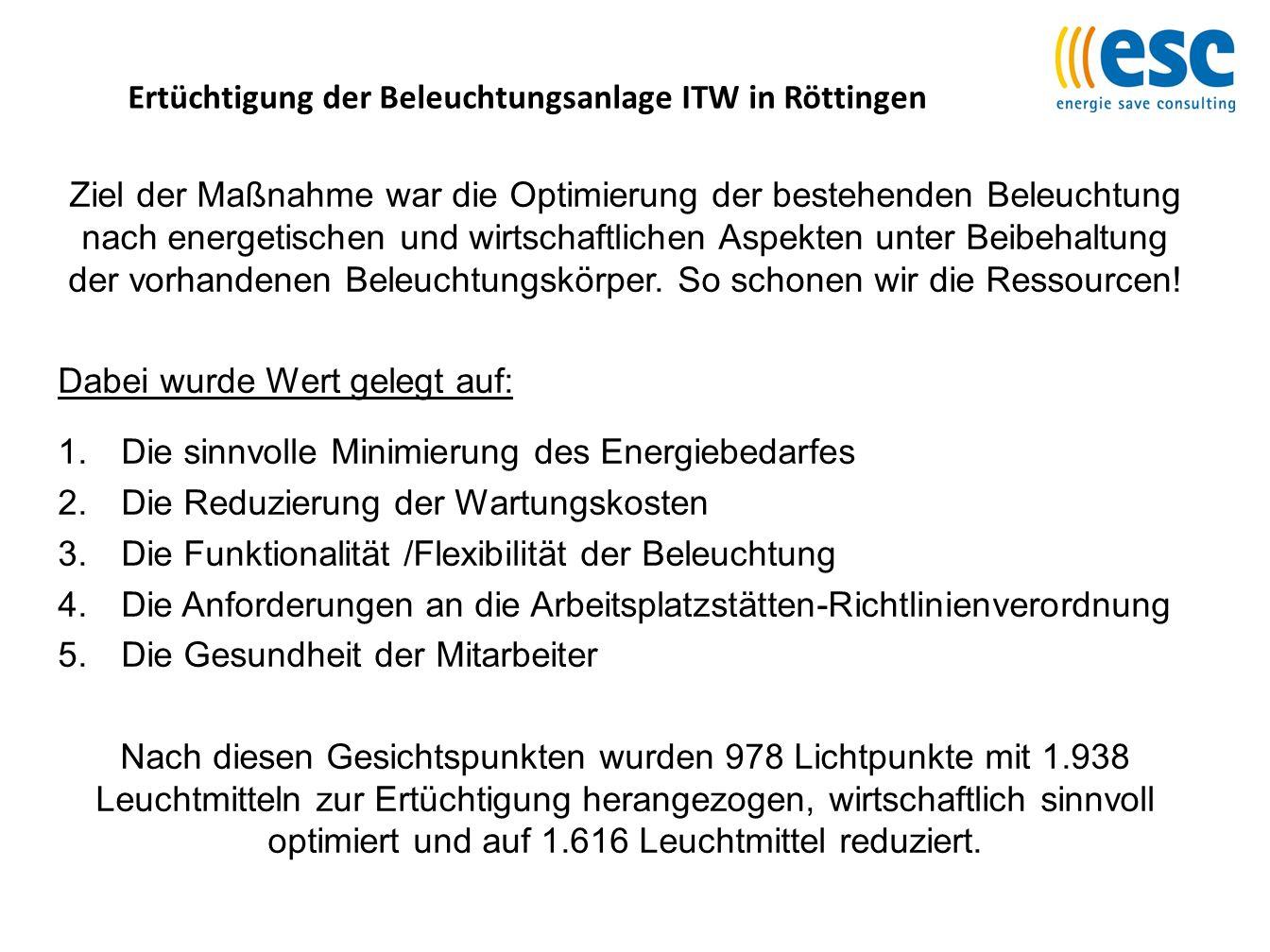 Ertüchtigung der Beleuchtungsanlage ITW in Röttingen Ziel der Maßnahme war die Optimierung der bestehenden Beleuchtung nach energetischen und wirtscha