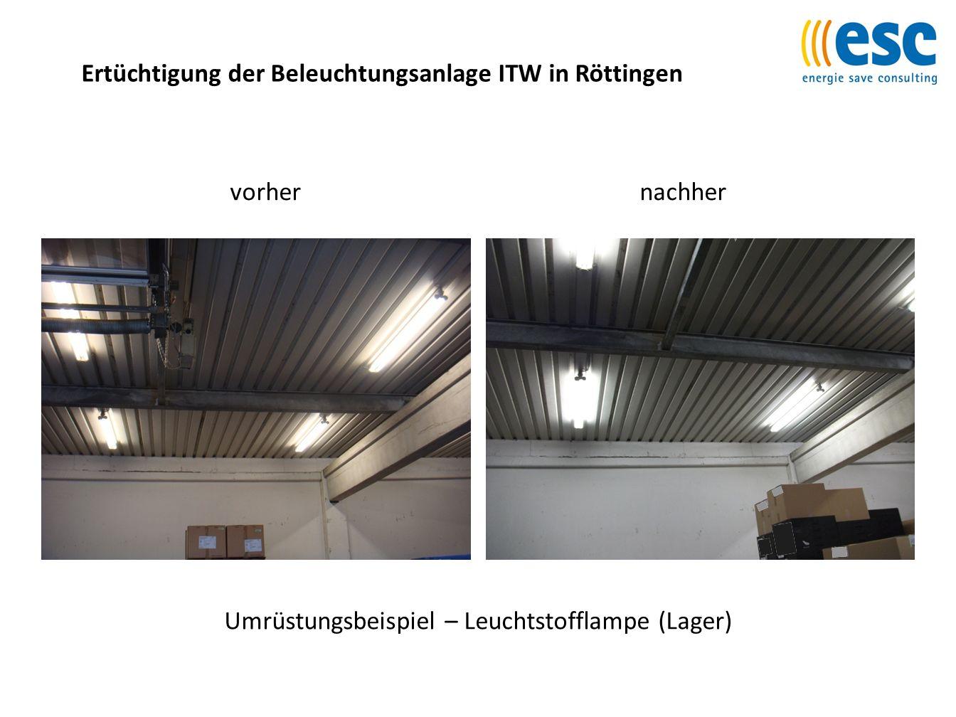 Ertüchtigung der Beleuchtungsanlage ITW in Röttingen Umrüstungsbeispiel – Leuchtstofflampe (Lager) vorhernachher